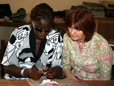 Jankey and Heather working together, The Gambia, February 2007